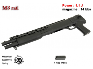 Shotgun type M3 with rail - Noir - 1J - Ressort - 6 mm - OTG2019
