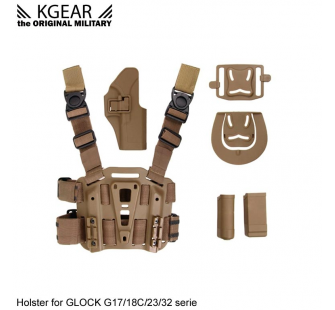 Kgear - Kit Holster a retention (02) pour type GLOCK - TAN - Droitier - KG-H0404