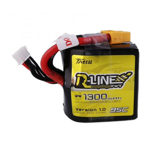 Tattu R-Line 1300mAh 95C 4S1P Square lipo battery pack  - TA-RL-95C-1300-4S1P-Square