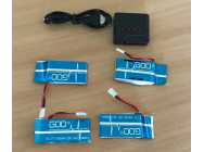 Combo 4 Lipo 1S 3.7V 600mAh + Chargeur USB - WSXMX5IN1
