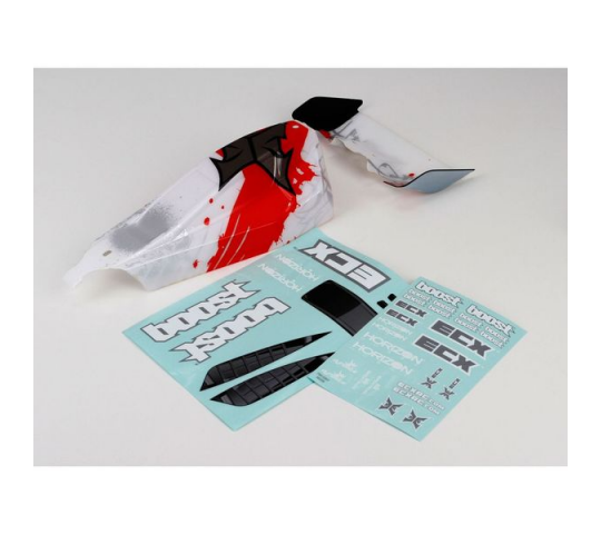 Body/Wing, White/Red: 1/10 2wd Boost - ECX230004