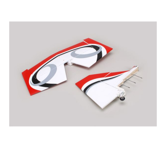 Twist 60 (True Red) Tail set w/ Elev, Fin, Derive - HAN421003