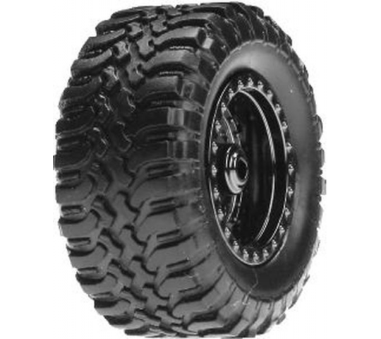 Desert Tire Set Mounted, Black Chrome (4):Micro DT - LOSB1572