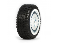 Tires, Mounted, White (4): Micro Rally - LOSB1593