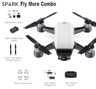 DJI SPARK Drone  Sommet BLANC  Fly More Combo - DJI-SPARK-FLY