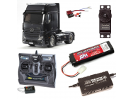 PACK CAMION TAMIYA MB ACTROS 1851 BLACK COMPLET / RADIO / CHARGEUR / ACCU - BDL-56342