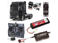 PACK CAMION TAMIYA MB ACTROS 1851 BLACK COMPLET / RADIO / CHARGEUR / ACCU / SONS ET LUMIERE - BDL-56342SL