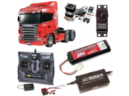 PACK CAMION TAMIYA SCANIA R620 6X4 COMPLET / RADIO / CHARGEUR / ACCU / SONS ET LUMIERE - BDL-56323SL