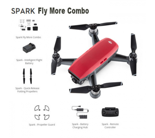 DJI SPARK Drone  Magma ROUGE  Fly More Combo - DJI-SPARK-ROUGE-FLY