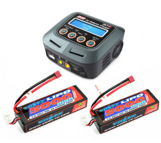 Combo Chargeur Sky RC S60 + 2x Lipo 7.4v 5000mah Dean - BDL-ACCU-CHARGEUR