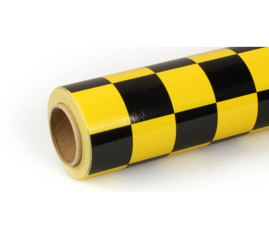 10m Oracover Fun-3 Large Chequered Yellow/Black - 5523742