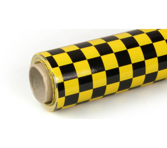 10m Oracover Fun-4 Small Chequered Yellow/Black - ZZ5523797