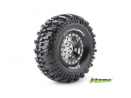 Louise RC - CR-CHAMP - Pneus 1-10e Crawler - Super Soft - Jantes 1.9  Chromees Noires - Hex 12mm - 1 Paire - LR-T3231VBC