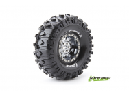 Louise RC - CR-ROWDY - Pneus 1-10e Crawler - Super Soft - Jantes 1.9  Chromees Noires - Hex 12mm - 1 Paire - LR-T3233VBC