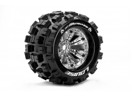 Louise RC - MT-MCROSS - Pneus 1-8e Monster Truck - Medium - Jantes 3.8  Chromees - 1/2 -Offset - EP E-REVO Av/Arr - EP SUMMIT Av/Arr - GP T-MAXX 3.3 A - LR-T3276CH