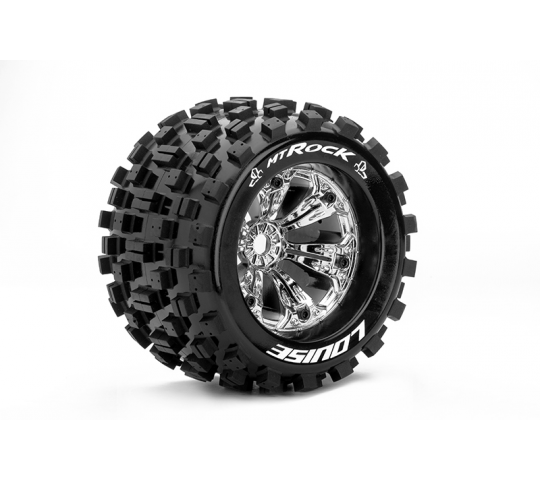 Louise RC - MT-ROCK - Pneus 1-8e Monster Truck - Medium - Jantes 3.8  Chromees - 0-Offset - EP E-MAXX Av/Arr - GP REVO 3.3 Av/Arr - GP HPI SAVAGE XL A - LR-T3277C