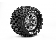 Louise RC - MT-ROCK - Pneus 1-8e Monster Truck - Medium - Jantes 3.8  Chromees - 1/2 -Offset - EP E-REVO Av/Arr - EP SUMMIT Av/Arr - GP T-MAXX 3.3 Av/ - LR-T3277CH