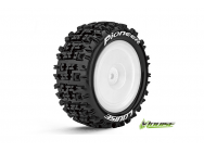 Louise RC - E-PIONEER - Pneus 1-10e Buggy - Soft - Jantes Blanches - Kyosho HEX 12mm - 4WD - Arriere - 1 Paire - LR-T3278SWKR