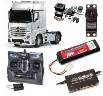 Pack Camion Tamiya MB ACTROS 1851 Blanc Complet / Radio / Chargeur / Accu / Sons et Lumieres - BDL-56335SL