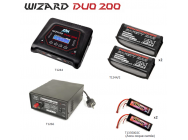 Pack Chargeur Wizard Duo 200 - Lipo Bag x2 - Powerbase T1266 - 2 x Accus Lipo 3500mah T2M - B-T1244L1