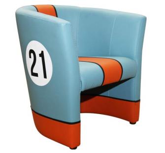 fauteuil cabriolet le mans heritage bleuorange n21 94900083 - Cabriolet Fauteuil