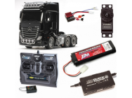 PACK CAMION ACTROS 3363 6X4 GIGASPACE NOIR COMPLET / RADIO / CHARGEUR / ACCU - BDL-56348