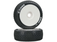 1/8 X-Cons Buggy Tire C2 Mounted White (2) - DTXC3610