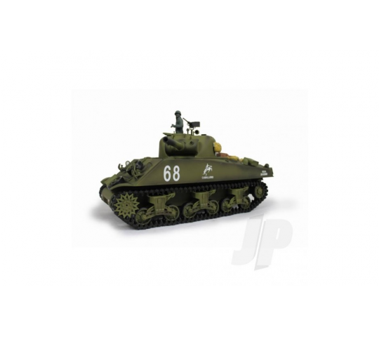 Char RC 1:16e US M4A3 Sherman Infrared Battle Systeme ( 2.4GHz +  Bille + Infrarouge + Fumee + Son ) Henglong - HLG3898-1B