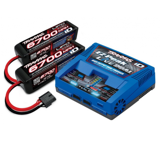 PACK CHARGEUR LIVE 2973G + 2 x LIPO 4S 6700MAH 2890X PRISE TRAXXAS - 2997G