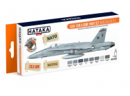 Orange Line Set(8 pcs) USAF, USN & USMC paint set (modern greys) - e - HATAKA - HTK-CS44