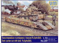 Tank carrier car with Pz.Kpfw. 38(t) - 1:72e - Unimodels - UM259