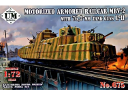 MBV-2 Motorized armored Railcar with 76,2-mm Tank guns L-11- 1:72e - Unimodels - UMT675