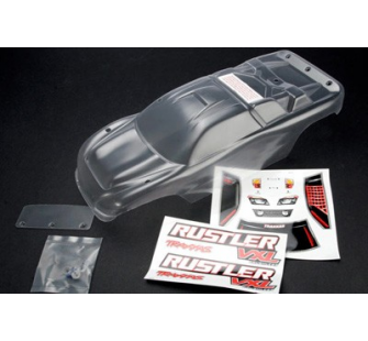 Body, Rustler (clear, requires painting)/window, lights decal sheet/ wing and aluminum hardware Traxxas - TRX-3714