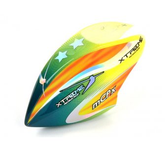 Pre-Painted Canopy (Type C) MCPX -GREEN (w/  Tail Fin Sticker) - XTR-MCPX020-GY