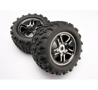 Roues montees collees jantes chromees noires - Maxx - TRX4983A