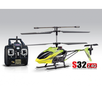 Helicoptere SYMA S32 2.4Ghz 3 voies avec Gyro (Vert-Jaune) - 11284