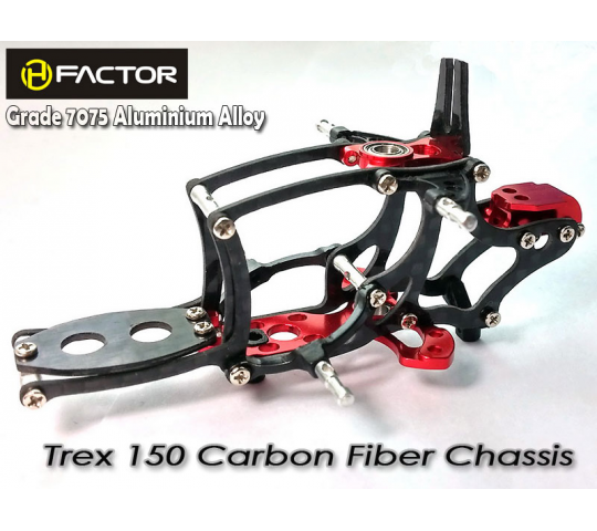 Trex 150 Carbon and 7075 Alloy Chassis -Silver - HeliFactor - HFA15001R