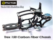 Trex 150 Carbon and 7075 Alloy Chassis -Silver - HeliFactor - HFA15001S