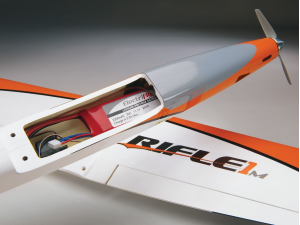 The Rifle 1M can be flown with widely available, economical electronics. Removing the wing allows easy access to the spacious on-board compartment, which greatly simplifies installation of on-board components. A custom tool is also included for easy battery re