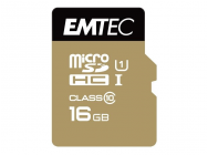 MicroSDHC 16Go EMTEC +Adapter CL10 Gold+ UHS-I 85MB/s - Sous blister - 13333