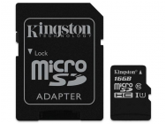 MicroSDHC 16Go Kingston CL10 UHS-I - Sous blister - 13402