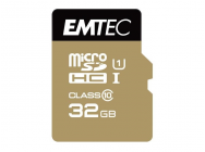 MicroSDHC 32Go EMTEC +Adapter CL10 Gold+ UHS-I 85MB/s - Sous blister - 13329