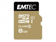 MicroSDHC 8Go EMTEC +Adapter CL10 Gold+ UHS-I 85MB/s - Sous blister - 13328