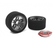 Team Corally - Attack foam tires - 1/8 Circuit - 32 shore - Front - Carbon rims (2) - C-14710-32
