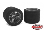 Team Corally - Attack foam tires - 1/8 Circuit - 35 shore - Rear - Carbon Flex rims (2) - C-14717-35